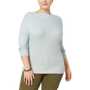 Lucky Brand Blue Boatneck Thermal Waffle Knit Top